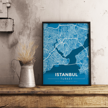 Premium Map Poster of Istanbul Turkey - Modern Blue Contrast - Unframed
