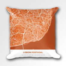Map Throw Pillow of Lisbon Portugal - Simple Burnt - Lisbon Map Art