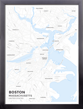 Framed Map Poster of Boston Massachusetts - Subtle Ski Map - Boston Map Art
