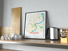 Premium Map Poster of Shanghai China - Modern Colorful - Unframed