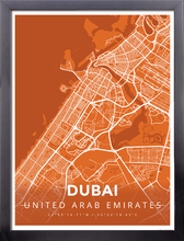 Framed Map Poster of Dubai United Arab Emirates - Modern Burnt