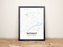 Framed Map Poster of Detroit Michigan - Modern Ski Map - Detroit Map Art