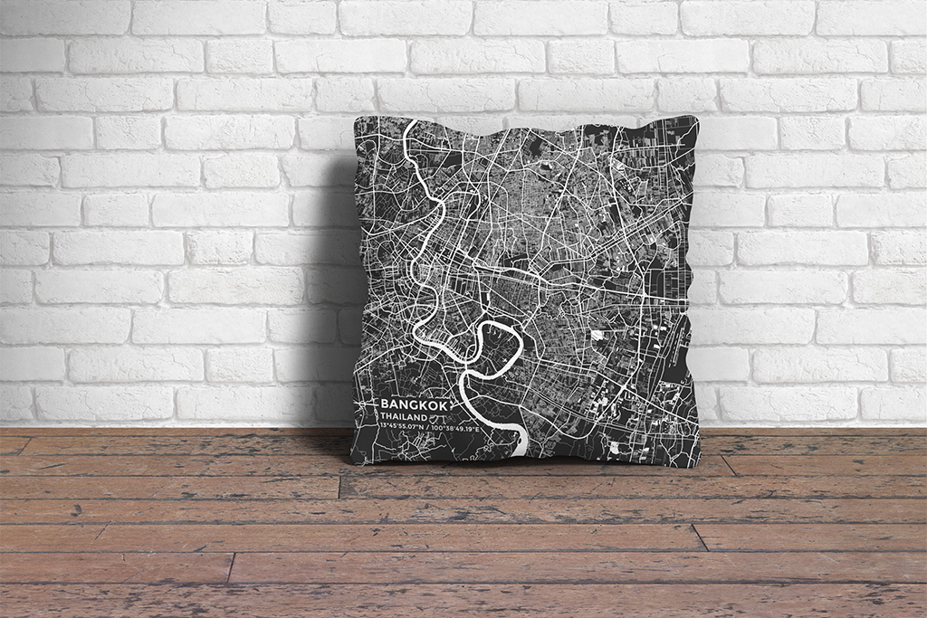 Map Throw Pillow of Bangkok Thailand - Subtle Contrast
