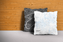 Map Throw Pillow of Chengdu Sichuan - Subtle Ski Map - Chengdu Map Art