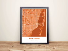 Framed Map Poster of Miami Florida - Simple Burnt - Miami Map Art