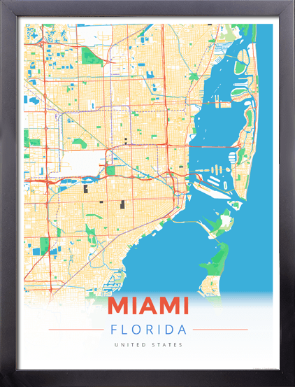 Framed Map Poster Of Miami Florida Map Art Travel Decor Mapprints