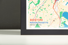 Framed Map Poster of Boston Massachusetts - Subtle Colorful - Boston Map Art