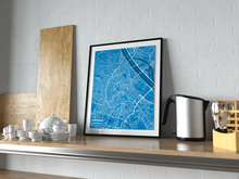 Premium Map Poster of Vienna Austria - Subtle Blue Contrast - Unframed