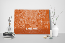 Gallery Wrapped Map Canvas of Bangkok Thailand - Modern Burnt