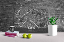 Gallery Wrapped Map Canvas of Paris France - Modern Contrast