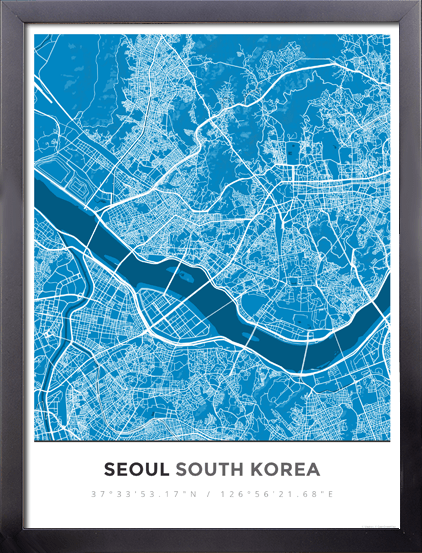 Framed Map Poster of Seoul South Korea - Simple Blue Contrast
