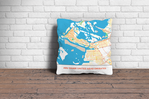Map Throw Pillow of Abu Dhabi United Arab Emirates - Simple Colorful - Abu Dhabi Map Art