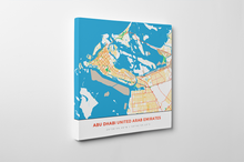 Gallery Wrapped Map Canvas of Abu Dhabi United Arab Emirates - Simple Colorful - Abu Dhabi Map Art