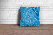 Map Throw Pillow of Vienna Austria - Subtle Blue Contrast