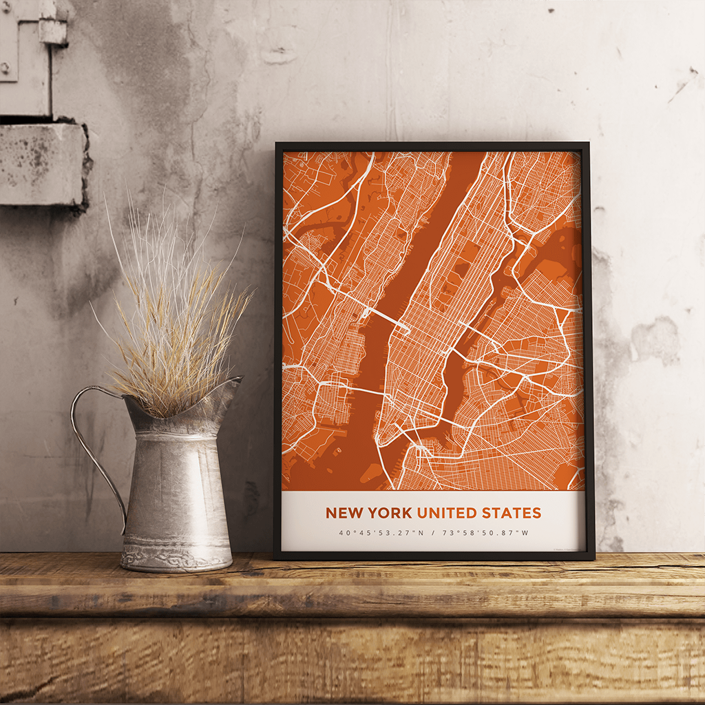 Premium Map Poster of New York United States - Simple Burnt - Unframed
