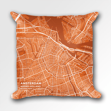 Map Throw Pillow of Amsterdam Noord-Holland - Subtle Burnt