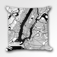 Map Throw Pillow of New York United States - Subtle Black Ink