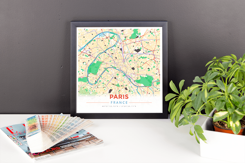 Framed Map Poster of Paris France - Modern Colorful