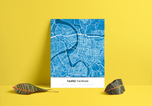 Premium Map Poster of Taipei Taiwan - Simple Blue Contrast - Unframed