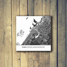 Gallery Wrapped Map Canvas of Dubai United Arab Emirates - Simple Contrast