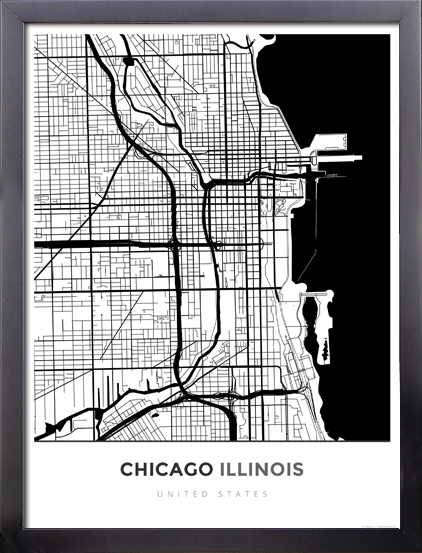 Framed Map Poster of Chicago Illinois - Simple Black Ink - Chicago Map Art