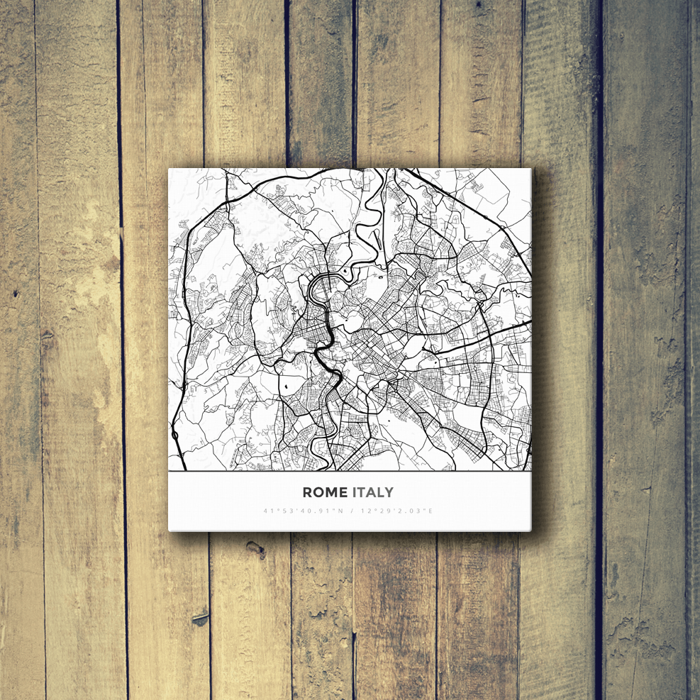 Gallery Wrapped Map Canvas of Rome Italy - Simple Black Ink