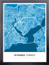 Framed Map Poster of Istanbul Turkey - Simple Blue Contrast
