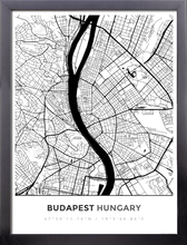 Framed Map Poster of Budapest Hungary - Simple Black Ink - Budapest Map Art
