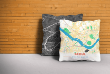 Map Throw Pillow of Seoul South Korea - Modern Colorful