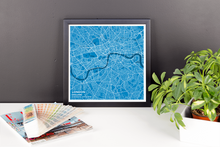 Framed Map Poster of London England - Subtle Blue Contrast