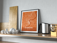 Premium Map Poster of Shanghai China - Modern Burnt - Unframed