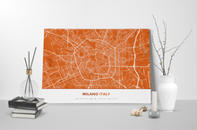 Gallery Wrapped Map Canvas of Milano Italy - Simple Burnt