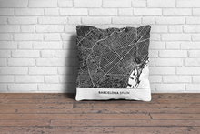Map Throw Pillow of Barcelona Spain - Simple Contrast