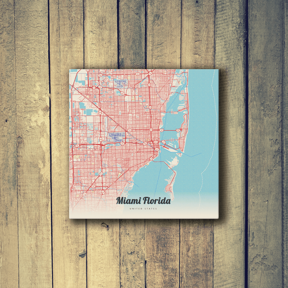 Map Of Miami Florida.Gallery Wrapped Map Canvas Of Miami Florida Map Art Travel Decor