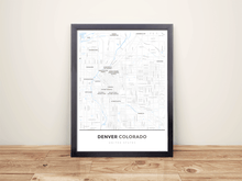 Framed Map Poster of Denver Colorado - Simple Ski Map - Denver Map Art