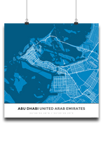 Premium Map Poster of Abu Dhabi United Arab Emirates - Simple Blue Contrast - Unframed - Abu Dhabi Map Art