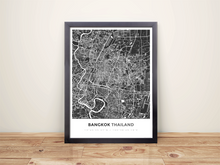 Framed Map Poster of Bangkok Thailand - Simple Contrast