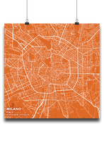Premium Map Poster of Milano Italy - Subtle Burnt - Unframed