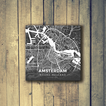 Gallery Wrapped Map Canvas of Amsterdam Noord-Holland - Modern Contrast