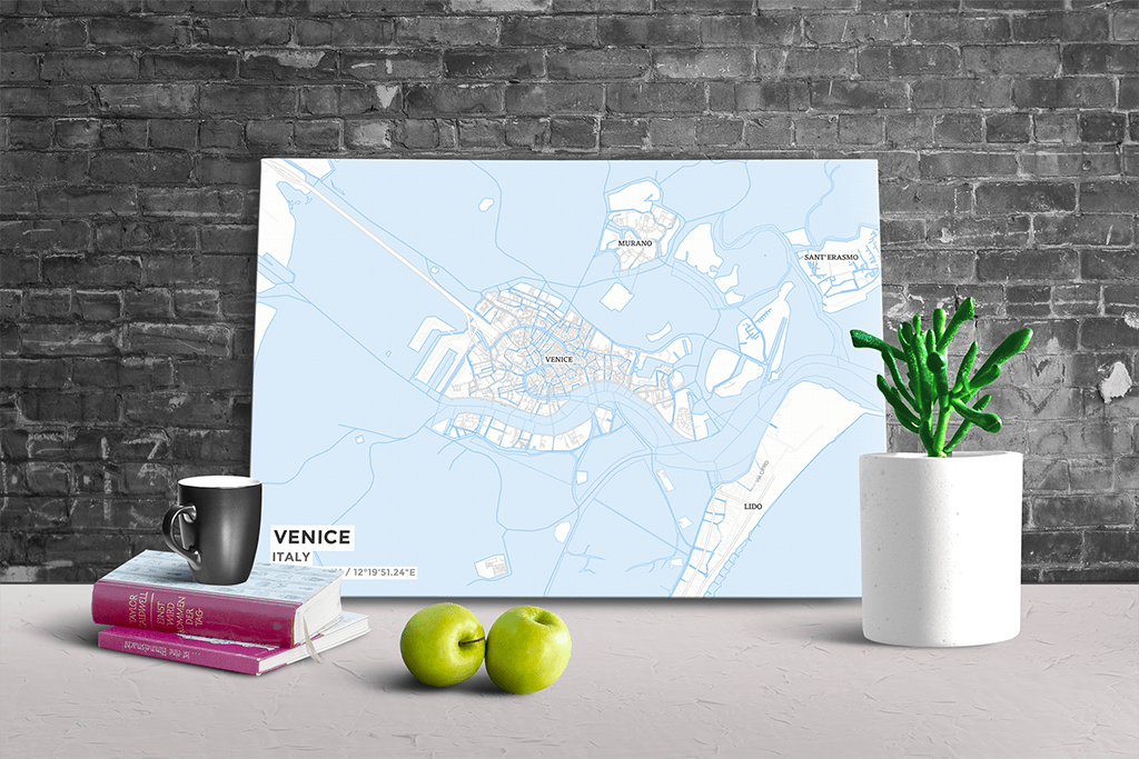 Gallery Wrapped Map Canvas of Venice Italy - Subtle Ski Map - Venice Map Art