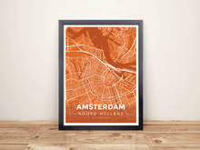 Framed Map Poster of Amsterdam Noord-Holland - Modern Burnt