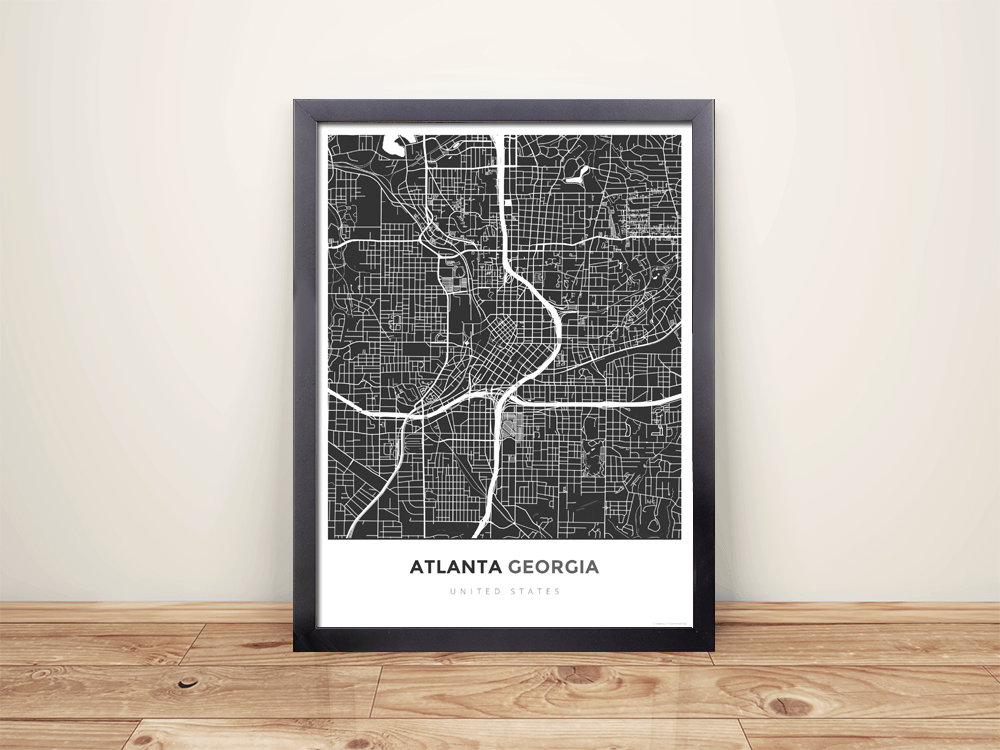 Framed Map Poster of Atlanta Georgia - Simple Contrast - Atlanta Map Art