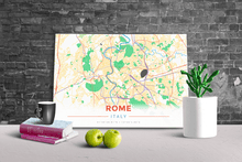Gallery Wrapped Map Canvas of Rome Italy - Modern Colorful