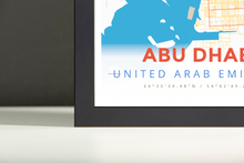 Framed Map Poster of Abu Dhabi United Arab Emirates - Modern Colorful - Abu Dhabi Map Art