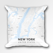 Map Throw Pillow of New York United States - Modern Ski Map
