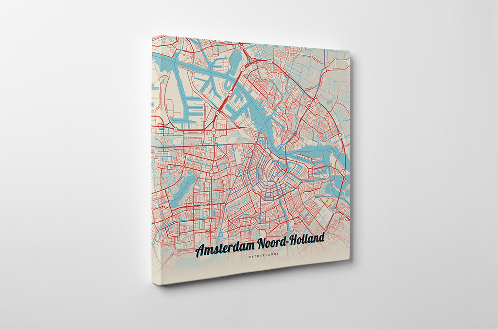 Gallery Wrapped Map Canvas of Amsterdam Noord-Holland - Lobster Retro - Amsterdam Map Art