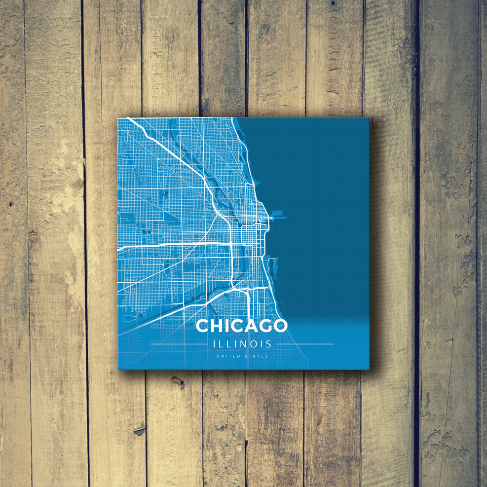 Chicago Map Canvas.Gallery Wrapped Map Canvas Of Chicago Illinois Map Art Travel