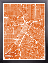 Framed Map Poster of Houston Texas - Subtle Burnt - Houston Map Art