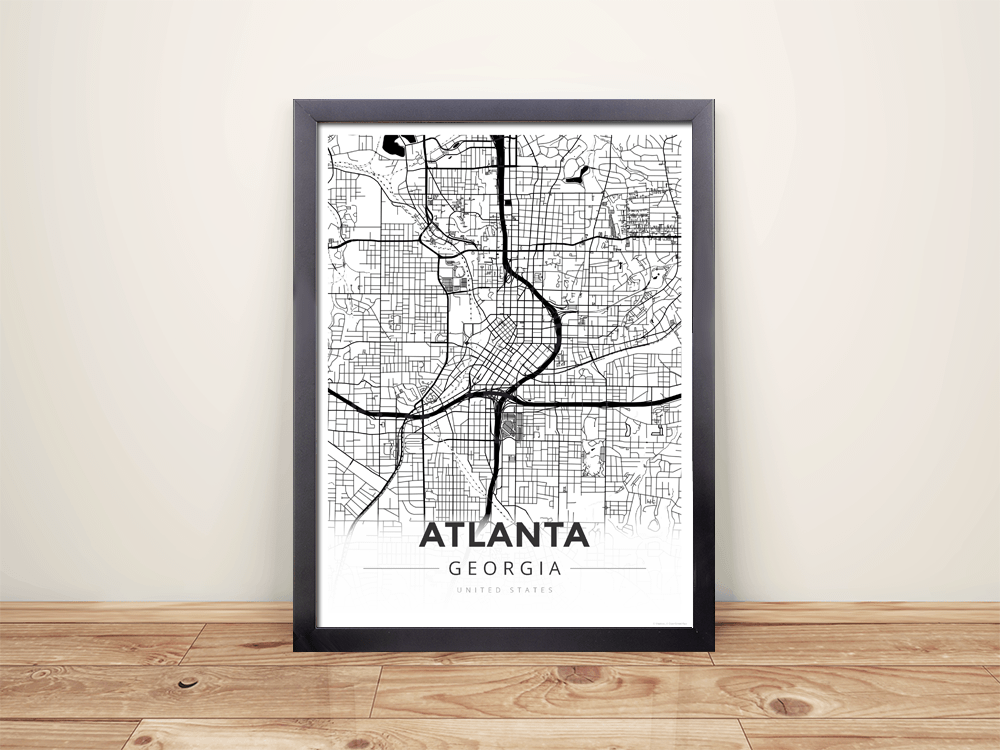 Framed Map Poster of Atlanta Georgia - Modern Black Ink - Atlanta Map Art