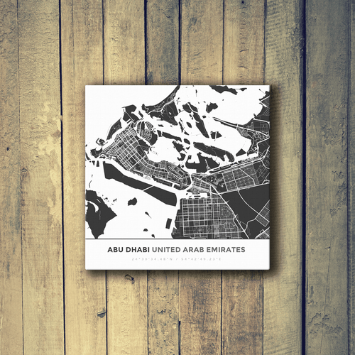 Gallery Wrapped Map Canvas of Abu Dhabi United Arab Emirates - Simple Contrast - Abu Dhabi Map Art